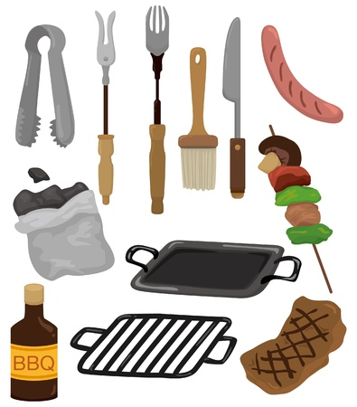 charcoal grill: cartoon barbeque party tool set icon