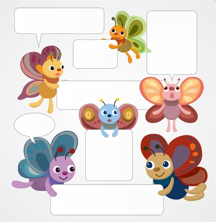 cute creature: cartoon butterfly cardspeech Illustration