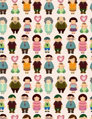 seamless cartoon family pattern Stock Vector - 9445276