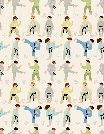 cartoon Karate Player seamless pattern Vector