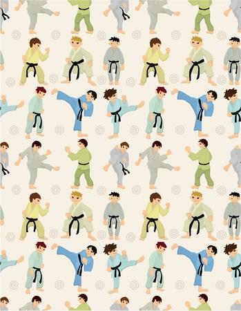 kung: cartoon Karate Player seamless pattern
