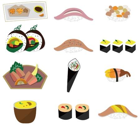 artoon Japanese food icon set Stock Vector - 9477457