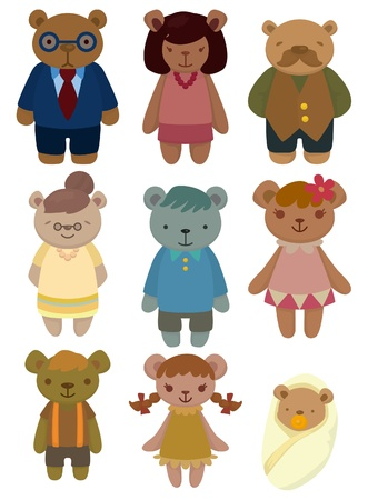 cartoon bear family set icon Vector