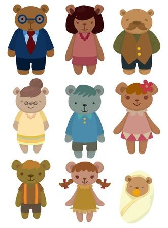 osito caricatura: icono de conjunto familiar de dibujos animados oso Vectores