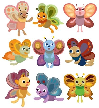 butterfly cartoon: cartoon butterfly set icon