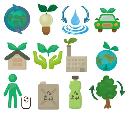 cartoon eco set icon Stock Vector - 9477445