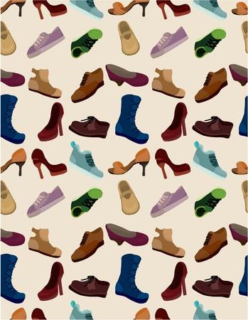 cartoon shoes set seamless pattern Vector