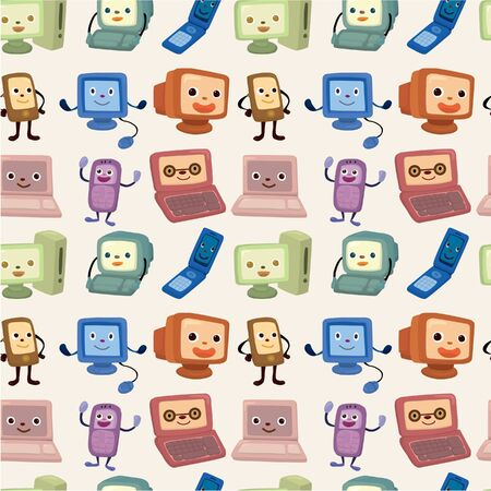 cartoon computer and phone set seamless pattern Stock Vector - 9477462