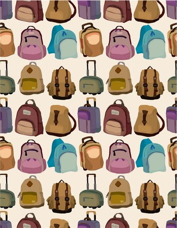 cartoon bag set seamless pattern Vector