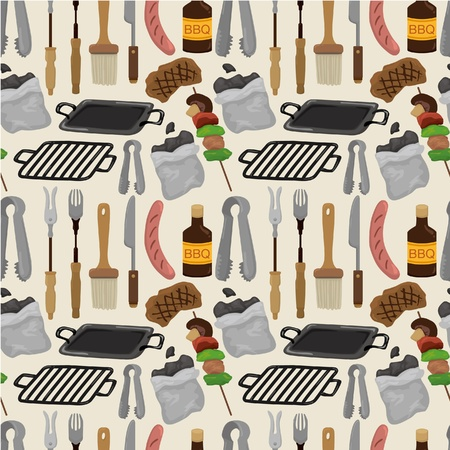 bbq: cartoon barbeque party tool seamless pattern