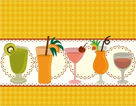 cartoon Juice party card Vector