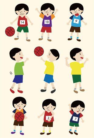 cartoon basketball player icon set Vector