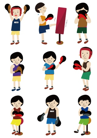 cartoon boxer icon set Vector