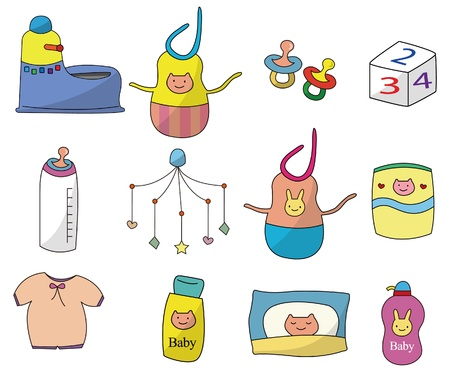 cartoon baby thing icon set Vector