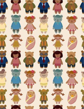 cartoon bear family icon set seamless pattern Vector