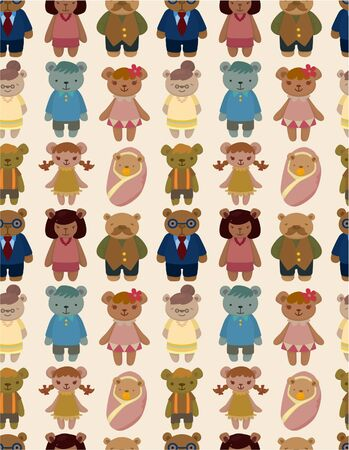 cartoon bear family icon set seamless pattern Vector