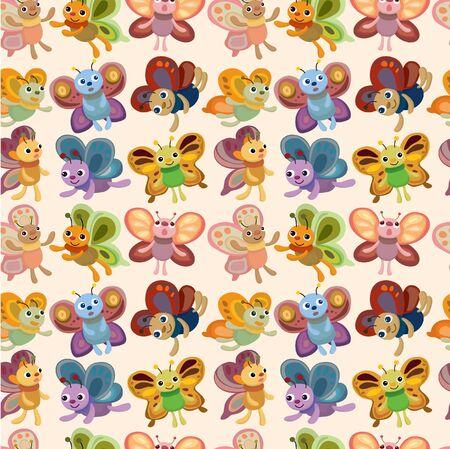 cartoon butterfly icon set seamless pattern Vector