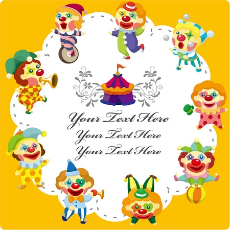cartoon circus clown card Vector
