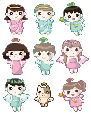 angel girl: cartoon Angel icon set