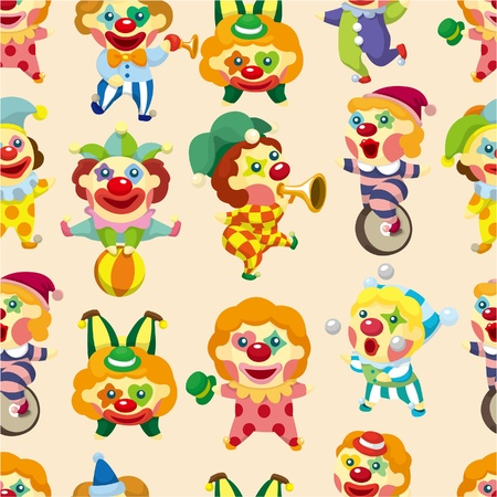 seamless cartoon circus clown pattern Vector