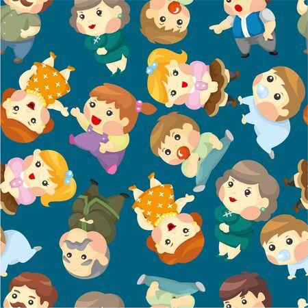 cartoon family set seamless pattern Stock Vector - 9477508