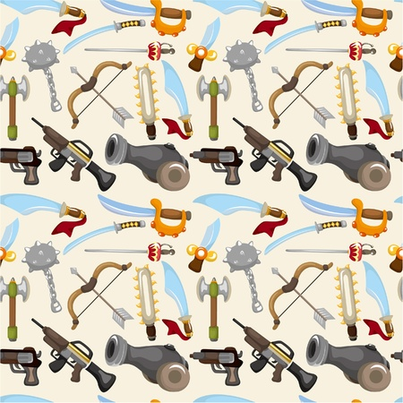 cartoon weapon set seamless pattern Stock Vector - 9477537