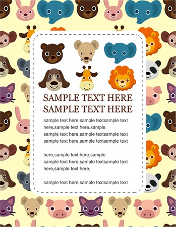 cartoon animal face card Vector