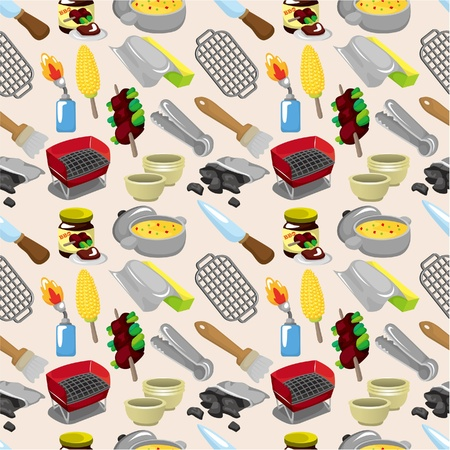 charcoal grill: cartoon BBQ seamless pattern