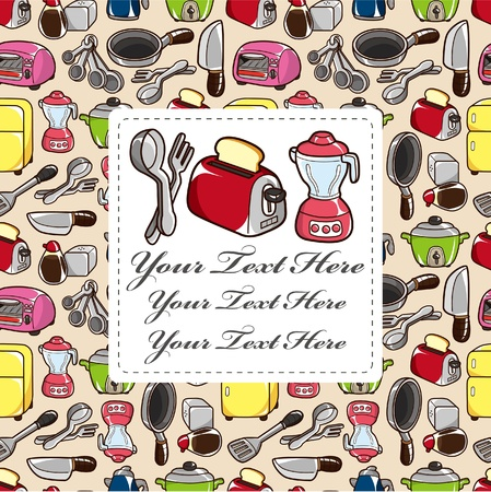 cartoon kitchen card Vector