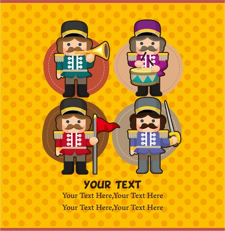 cartoon Toy soldiers card Vector