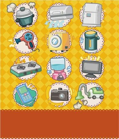 cartoon home appliance seamless pattern Vector