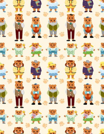 cartoon bear family icon set seamless pattern Stock Vector - 9477557