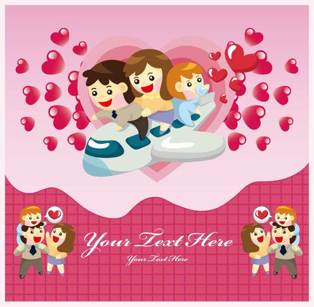 cartoon family card Vector