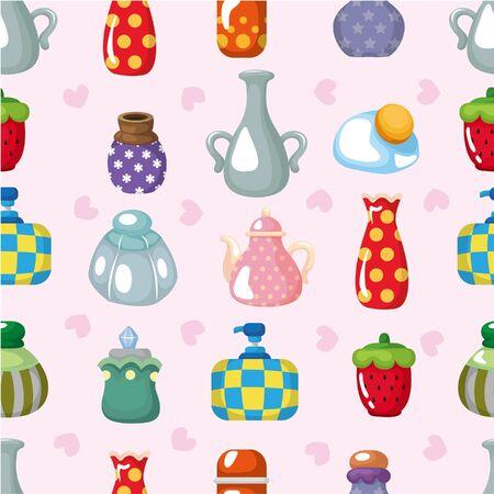 vintage dishware: cartoon bottle seamless pattern