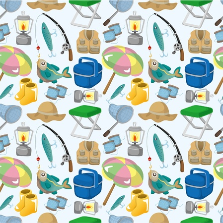 cartoon fishing: cartoon Fishing seamless pattern