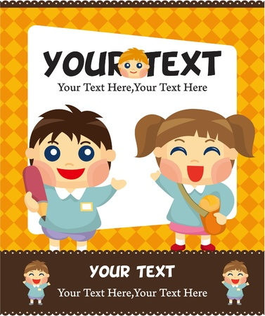 cartoon kid card Vector