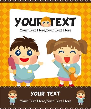 cartoon kid card Stock Vector - 9525757