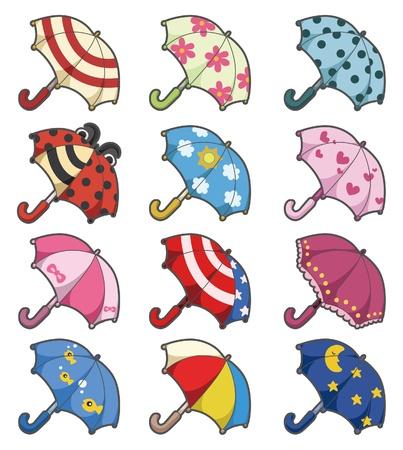 decorative accessories: cartoon Umbrellas icon set