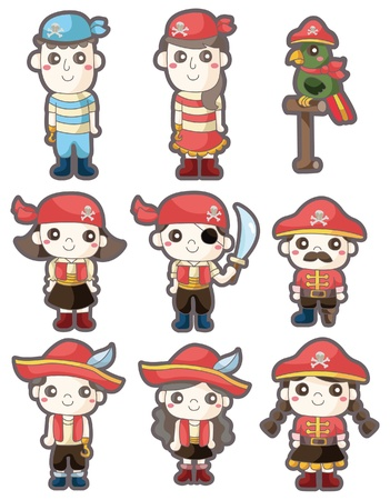 cartoon pirate icon set Vector
