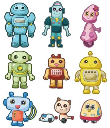 만화 로봇 아이콘 세트 일러스트