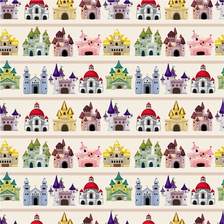 cartoon fairy: cartoon Fairy tale castle seamless pattern