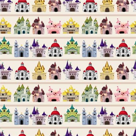 castello fiabesco: seamless pattern di cartone animato fiaba castello Vettoriali