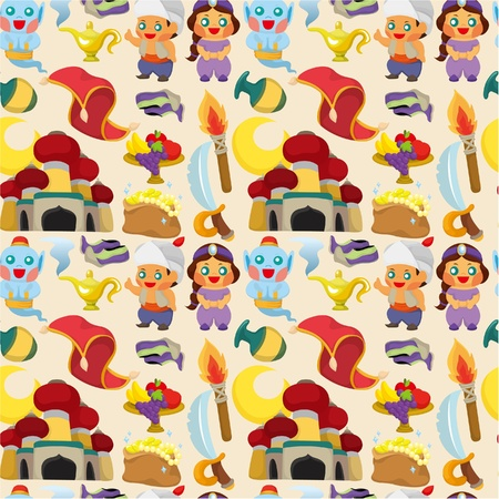 cartoon Lamp of Aladdin seamless pattern Stock Vector - 9525786