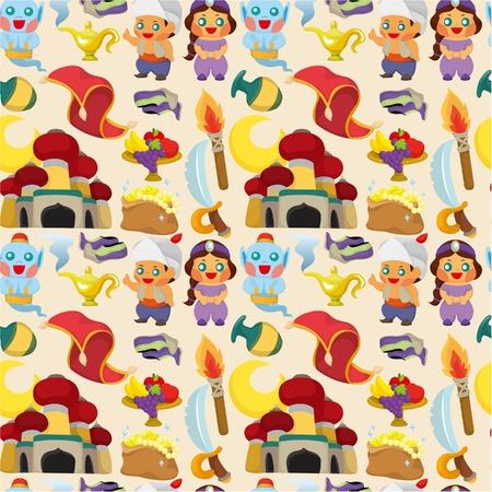 cartoon Lamp of Aladdin seamless pattern Stock Vector - 9525786