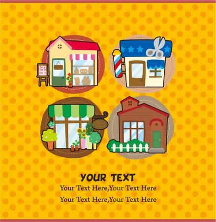 cartoon house/shop card 向量圖像