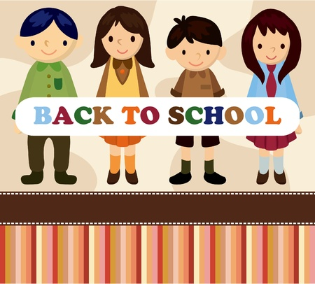cartoon student cardback to school