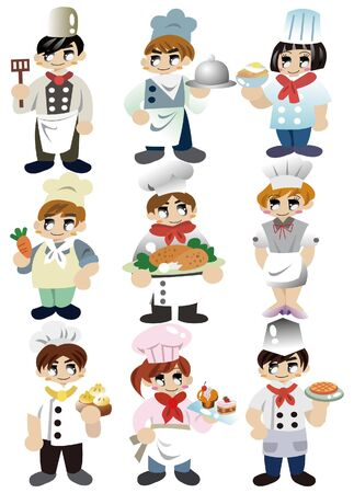 cuisine: cartoon chef icon Illustration