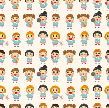 artoon kid seamless pattern Vector
