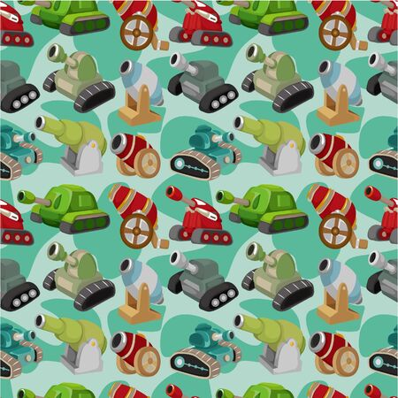 cartoon TankCannon Weapon  seamless pattern Vector