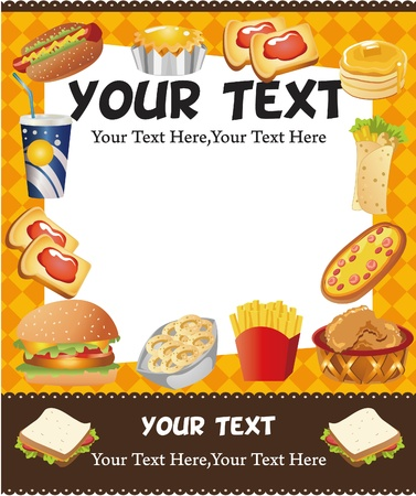 merenda: carta di fast food di cartone animato